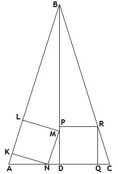 Два квадрата в треугольнике