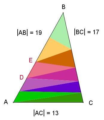 9 равновеликих треугольников