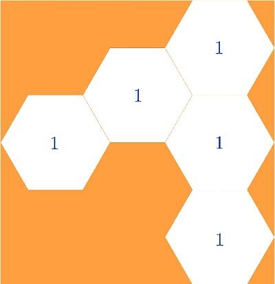 Шестиугольники  на оранжевом поле