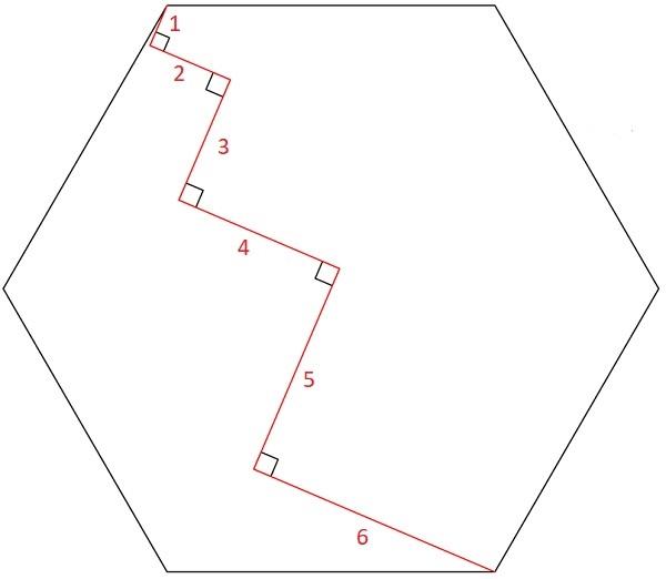 Ломаная в шестиугольнике