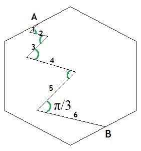 Ломаная в шестиугольнике - 2